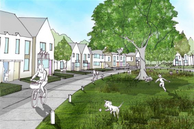 Artist's impression of Homes England's Northern Arc project at Burgess Hill. Image courtesy of AECOM.
