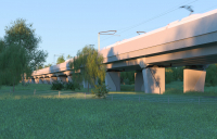 Computer-generated image of the 515m-long Edgcote Viaduct.