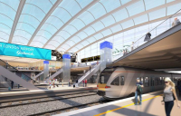 CGI of a revamped Gatwick Airport station.