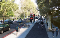 CGI of the proposed new cycleway from Hackney to the Isle of Dogs. Image courtesy of TfL.
