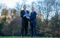 ICS chairman Ian Russell (left) presents Michael Matheson, Scottish cabinet secretary for transport and infrastructure, with the ICS report.