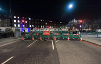 Night time road works at London's Baker Street.