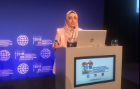 Outgoing FIDIC YP chair Jomanah Al Btoush addressing delegates at the FIDIC annual conference in Berlin.
